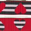 "Reversible Heart stripe, black, red and white (this is a jacquard ribbon) available in 1 1/2"" (1"" out of stock)"