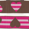 "Reversible Heart Stripe, Brown, Fuchsia and pink (this is a jacquard ribbon) available in 1 1/2"" and 1"""