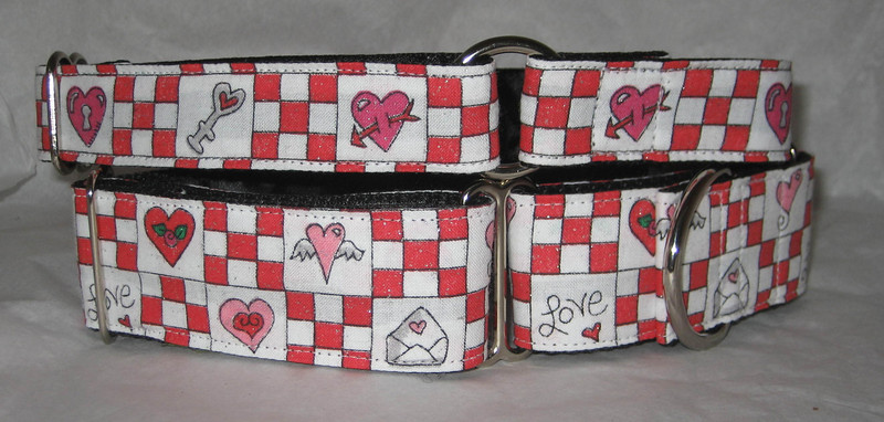 """Hearts 10, 1 1/2"""" martingale collar and 1"""" greyhound tag collar, style #1"""