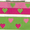 "Reversible Heart, Apple, Fuchsia and pink (this is a jacquard ribbon) available in 1 1/2"" and 1"""