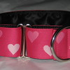 "Reversible Heart, Fuchsia and pink (this is a jacquard ribbon) available in 1 1/2"" and 1"" wide"
