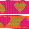 "Reversible Heart Stripe, Fuchsia, orange and apple (this is a jacquard ribbon) available in 1 1/2"" and 1"
