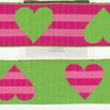 "Reversible Heart Stripe, Apple, Fuchsia and pink (this is a jacquard ribbon) available in 1 1/2"" and 1"