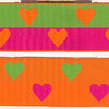 "Reversible Heart, orange, fuchsia and apple (this is a jacquard ribbon) available in 1 1/2"" and 1"