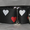 "Reversible Heart, black, red and white, 1 1/2"" wide martingale collar shown"