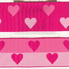 "Reversible Heart, Fuchsia and pink (this is a jacquard ribbon) available in 1 1/2"" and 1"