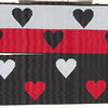 "Reversible Heart, black, red and white (this is a jacquard ribbon) available in 1 1/2"" and 1"" wide"