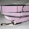 "Swiss Velvet Baby Pink, 1 1/2"" wide martingale, greyhound tag collar and 6' leash shown"