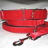 "Swiss Velvet Scarlet, 1 1/2"" wide martingale, greyhound tag collar and 6' leash shown"