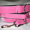 "Swiss Velvet Hot Pink, 1 1/2"" wide martingale, greyhound tag collar and 6' leash shown"