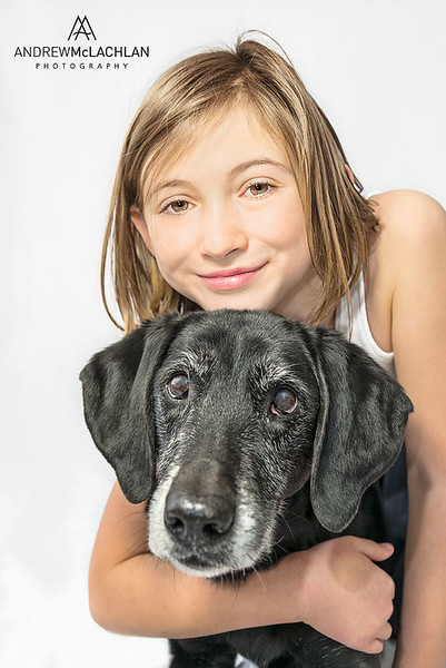 Young girl and dog