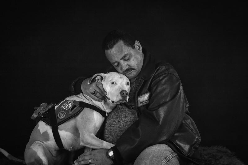 PTSD service dog and her human.