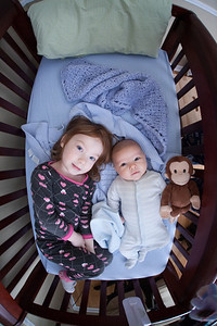 Peyton and Parker in the Crib