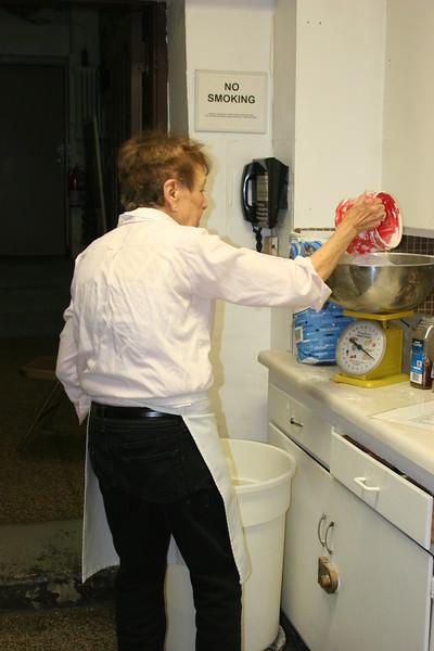 #10   betty schuchardt  weighing flour for the dough