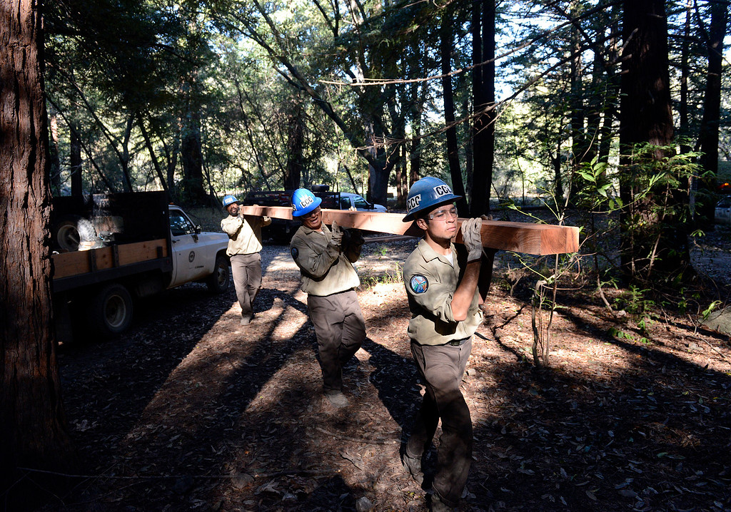 . A California Conservation Corps crew members Gabriel Mata, right, Angel Correa and Joseph Lowe carry a piece of lumber up while building the temporary Pfeiffer Canyon access trail so residents and employees can get around the damages Pfeiffer Canyon Bridge on Highway 1 in Big Sur, Calif. on Monday March 13, 2017. The bridge was compromised after slides occurred in the area associated with this winter\'s heavy rains.  (David Royal - Monterey Herald)