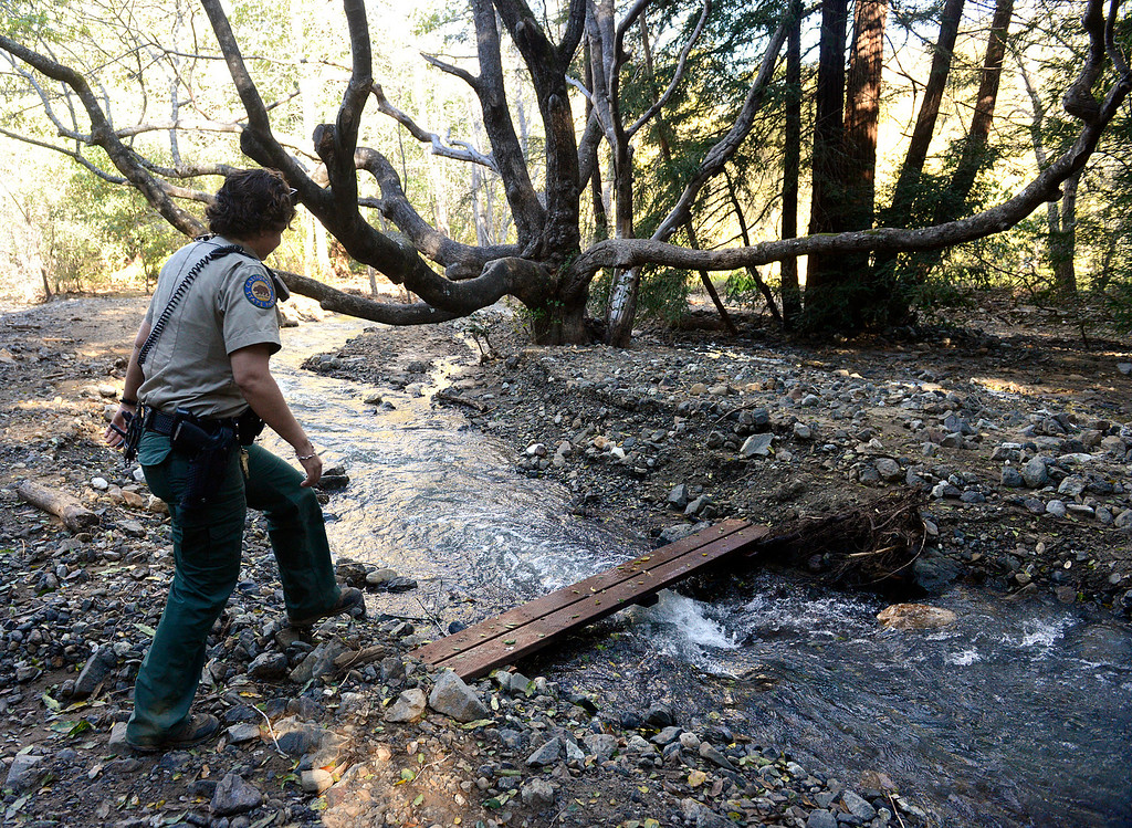 . California State Parks Ranger Bernadette Davis walks over a creek flowing heavy through the Pfeiffer Big Sur Campground which flowing from above under the Pfeiffer Canyon Bridge on Highway 1 to the nearby Big Sur River in Big Sur, Calif. on Monday March 13, 2017. Davis said that much of the campground was under water during the recent rains.  (David Royal - Monterey Herald)