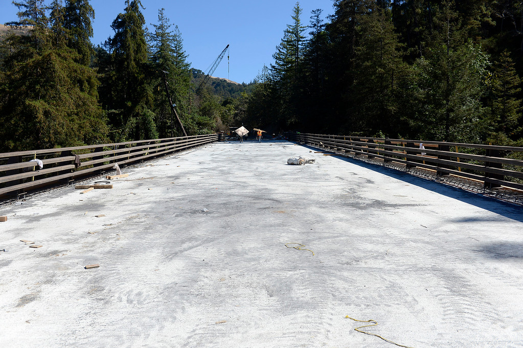 . Looking south on the recently poured cement on the Pfeiffer Canyon Bridge on Highway One on Monday, Oct. 2, 2017.  (Vern Fisher - Monterey Herald)