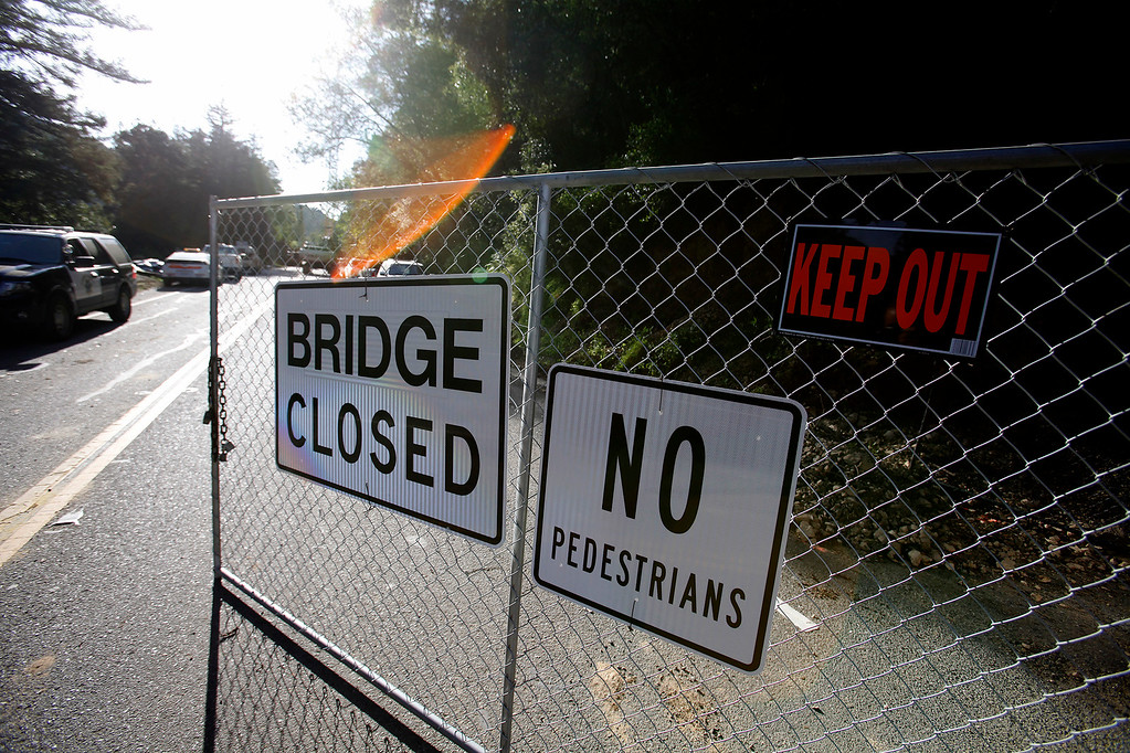 . Highway One closed to all traffic during the demolition of the storm damaged Pfeiffer Canyon Bridge in Big Sur on Thursday, March 16, 2017.  (Vern Fisher - Monterey Herald)