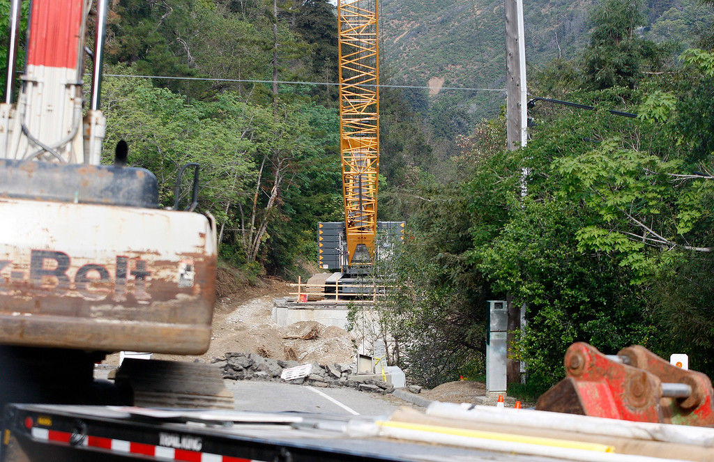 . Construction area on Highway One on the south side of the Pfeiffer Canyon Bridge on Thursday, March 30, 2017.  (Vern Fisher - Monterey Herald)