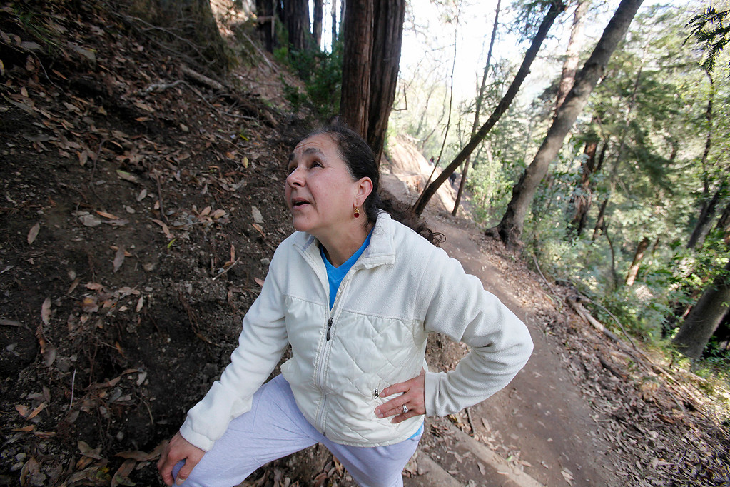 . Martha Perez uses the new Pfeiffer Canyon trail to visit her husband who works at Nepenthe on Thursday, March 30, 2017.  The foot trail is open to residents traveling around the former Pfeiffer Canyon bridge and Pfeiffer Big Sur State Park on Thursday, March 30, 2017.  (Vern Fisher - Monterey Herald)