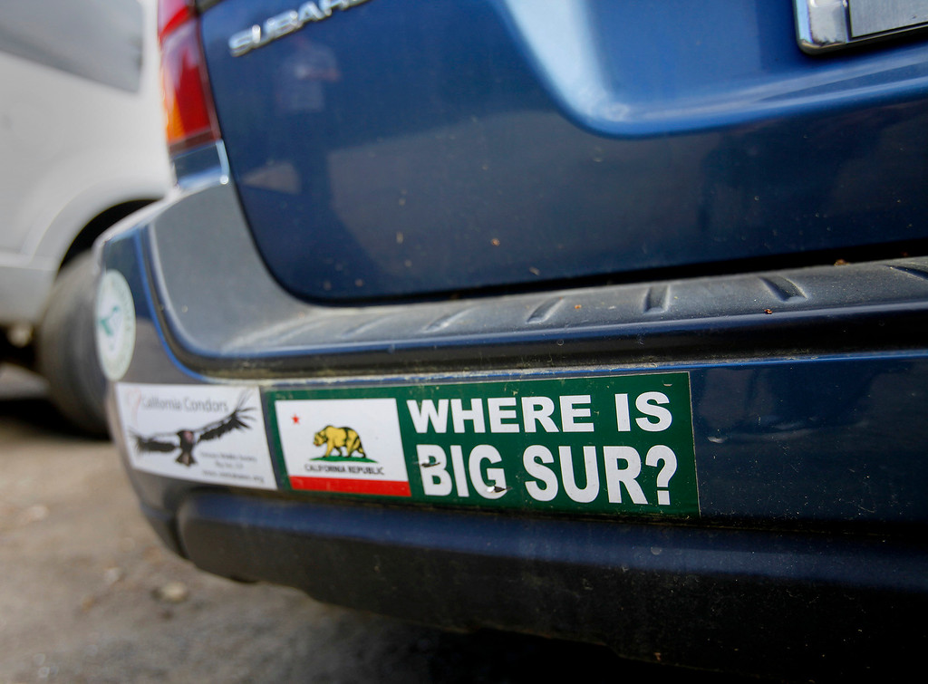 . A bumper sticker on a car parked at the south trailhead of the new Pfeiffer Canyon foot trail on Thursday, March 30, 2017.  (Vern Fisher - Monterey Herald)