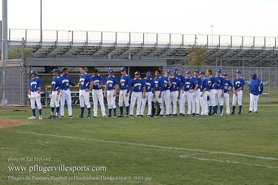 Pflugerville Panthers Baseball vs Hendrickson Hawks, April 5, 2013