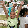 Phase one of the Mechanic Street Park is done and a ceremony to official open the park was held on Wednesday morning, July 17, 2019. Zemi Gonzalez, 8, was very happy after having some of the free ice cream at the ceremony. The ice cream was provided Fidelity Bank. SENTINEL & ENTERPRISE/JOHN LOVE