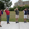 Phase one of the Mechanic Street Park is done and a ceremony to official open the park was held on Wednesday morning, July 17, 2019. Veterans salute as the American flag is raised during the ceremony. SENTINEL & ENTERPRISE/JOHN LOVE
