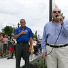 Phase one of the Mechanic Street Park is done and a ceremony to official open the park was held on Wednesday morning, July 17, 2019. the national anthem was sung by army veteran Captain Alan Swartz. Just behind him is Leominster Mayor Dean Mazzarella. SENTINEL & ENTERPRISE/JOHN LOVE