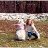 Phia with snowman, Crab Orchard days, Roswell