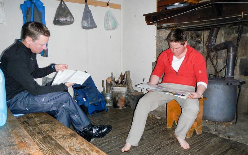 Map reading at Mawson Hut