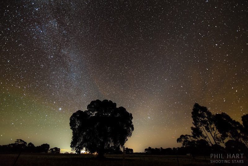 Airglow and Zodiacal Light and the lights of Bendigo from Heathcote, Victoria.
