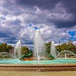 Logan Circle Fountain, Cloudy Sky