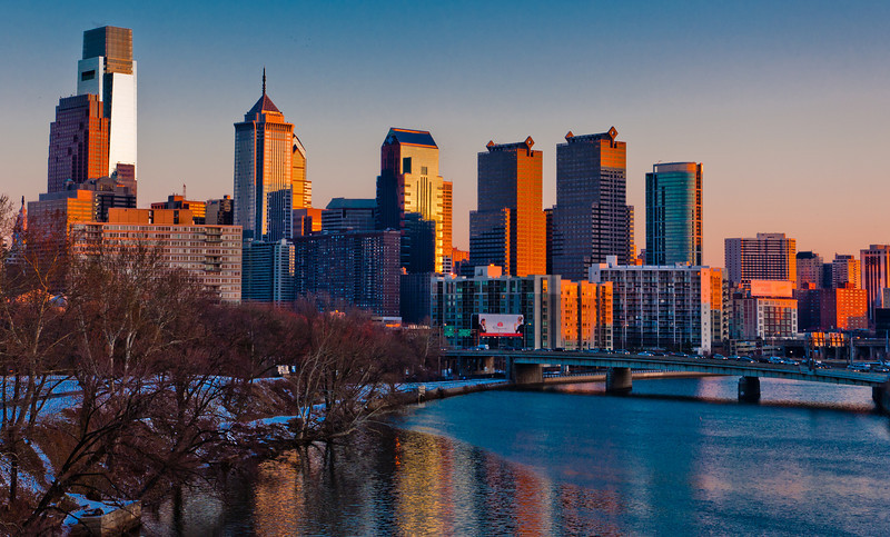 Sunset View of Philadelphia Skyline in Winter