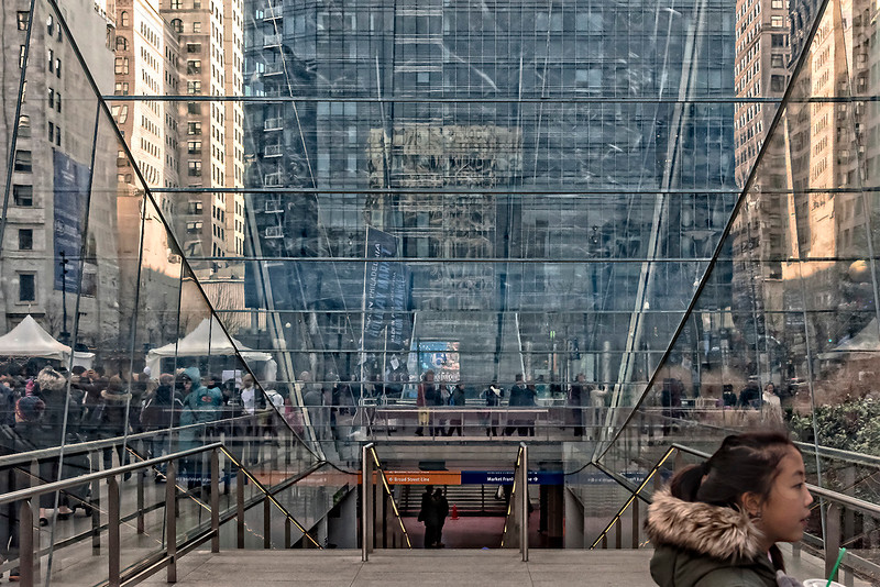 Dilworth Park SEPTA Entrance, Glass Reflections