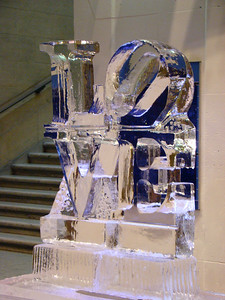 LOVE ice sculpture that was for a wedding being held at the Franklin Institute