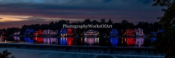 Boathouse Row Panorama at Dusk