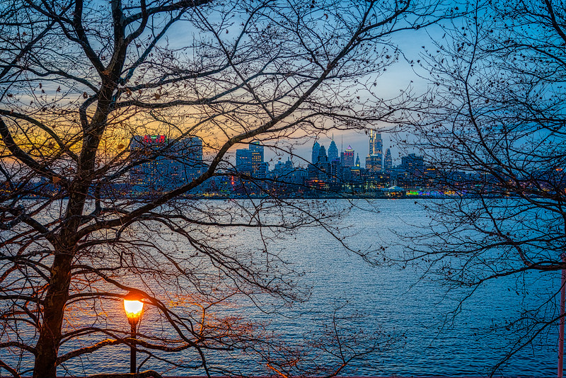 Looking across the Delaware River to the skyline of Philadelphia.