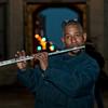 Flautist Curt Edwards plays at Philadelphia City Hall.