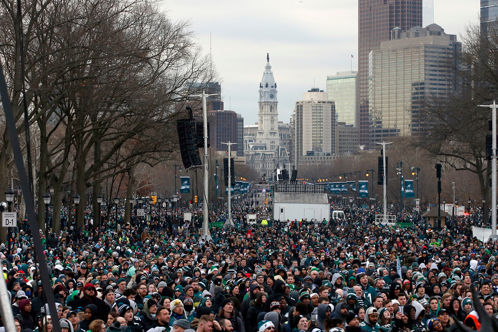 . Fans line Benjamin Franklin Parkway before a Super Bowl victory parade for the Philadelphia Eagles football team, Thursday, Feb. 8, 2018, in Philadelphia. The Eagles beat the New England Patriots 41-33 in Super Bowl 52. (AP Photo/Alex Brandon)