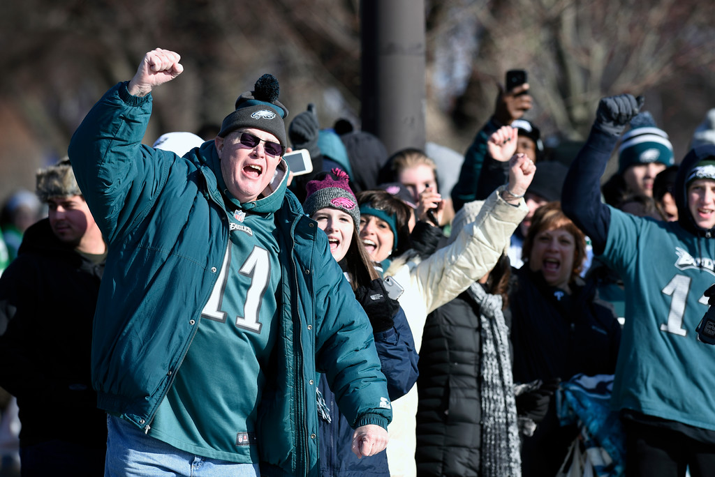 . Philadelphia Eagles NFL football team fans celebrate during the Super Bowl LII victory parade, Thursday, Feb 8, 2018, in Philadelphia. (AP Photo/Michael Perez)