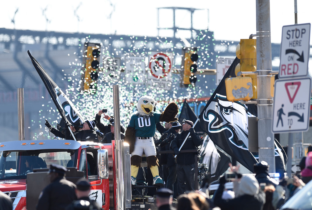 . Philadelphia Eagles NFL football team mascot Swoop waves during the Super Bowl LII victory parade, Thursday, Feb 8, 2018, in Philadelphia. (AP Photo/Michael Perez)