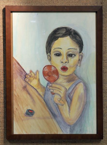 Artist: Angela Lerman<br /> Title: Bailey Get's Her Glam On<br /> Medium: Watercolor