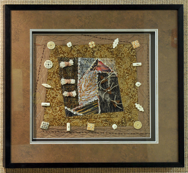 Artist: Joan Southworth<br /> Title: Buttons, Feathers & Bows<br /> Medium: Art Quilt