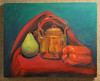 Artist: Christine Ritchey<br /> Title: Pepper, Pear, & Copper Tea Pot<br /> Medium: Oil on Canvas