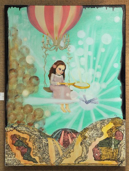 Artist: Rana Lee Adawi Awdish M.D.<br /> Title: Battle of the Floating Lullaby<br /> Medium: Mixed Media on Canvas