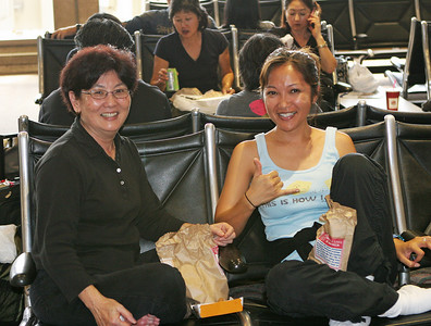 Lynette Furukawa and June Sweeney at the HNL airport before departure.
