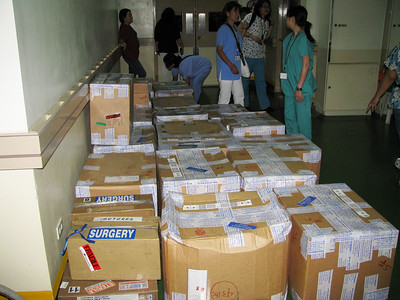 Our boxse arrive at the hospital.