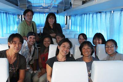 On the bus. Shim. Stephan. Kameron. Eliza. Greta. Antoinette. Kathy. Naomi. Viviane. Tracie. Erin.