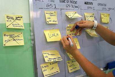 Our new scheduling method invented by Judy Kodama the week before in Bacolod.  by Nancy Loehrke